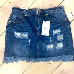 Forever 21 Distressed Denim Jean Mini Skirt